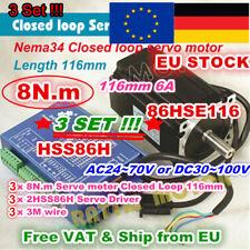 【DE No.VAT】 3x Nema34 8N.m Closed Loop Servo Motor 116mm+HSS86 70V 6A Driver CNC