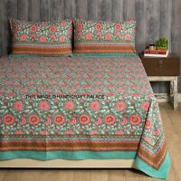 Pink Sunflower Hand Block Printed Cotton Double Bed Sheet With Two Pillow Covers