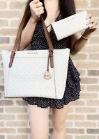 Michael Kors Ciara East West Top Zip Tote Vanilla + 3/4 Zip Wallet Vanilla