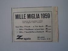advertising Pubblicità 1959 ZAGATO e MILLE MIGLIA