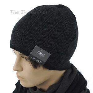 VAN HEUSEN Men's GRAY & BLACK HERRINGBONE Winter BEANIE Hat FLEECE LINED CAP