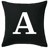 Personalised Black Cushion Covers Custom Initial Sofa Daybed Pillows