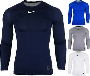 Nike Men's Pro T-Shirt Compression Long Sleeve Warm Discount White Blue 838077