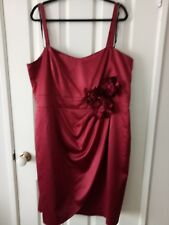 City Chic Red Silk Feel Formal Floral Dress with Removable Straps Size L
