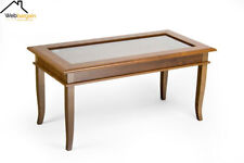 Vintage Rustic Coffee Table Wooden Open Glass Display Cabinet Solid Living Room