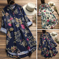 Women Buttons Down Asymmetrical Hem Shirt Tops Blouse Vintage Floral Mini Dress