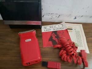 Vintage Norelco Red Lady Shaver #HP2116 Tested Works Cord Papers & Case