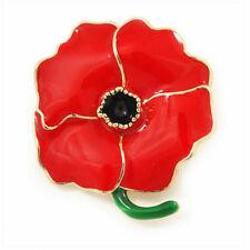Women Elegant red girl Flower Brooch Pin Enamel Red Poppy Broach Remembrance