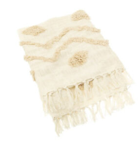 Blanca Tufted Zigzag Throw New Home Bedroom Decor Boho Bed Blanket Gift