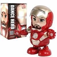 Dance Iron Man Avengers Toy Figure Dancing Robot w/LED Flashlight & Music Sound