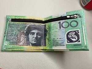AU $100 money Note pattern Wallet synthetic suede Photo ID Card Holder OZ