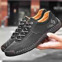 Mens Lace Up Handmade Sewn Stitching Leather Casual Shoes Flat Moccasin Sneakers