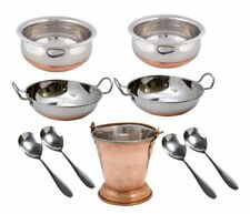 9 Pcs Set Stainless Steel Dinner Set|Serving Handi|Ladle|Copper Bottom Mini Wok