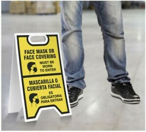 Face Mask to Enter, Protection PPE Sign 12x20 Standing A-Frame 2-Sided, NEW