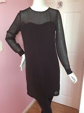Vero Moda Black Long Sheer Sleeve Mini Dress Lace Sweetheart Neckline 36 8