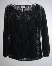 Laundry Shelli Segal SIZE 2  BLACK KNIT TOP LACE OVER TANK TOP RETAIL $135