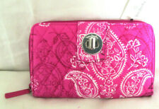 Vera Bradley Turnlock Turn Lock Wallet Clutch Stamped Paisley Pink Bandana NEW!