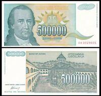 YUGOSLAVIA 500000 (500,000) Dinara, 1993, P-131, Hyperinflation, World Currency