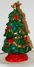 TRINKET BOX Christmas Tree Shaped Decorated Angel Hinged Bows Candy Canes Blue