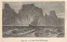 A8736 Il Capo Nord dell'Europa - 1895 xilografia - Engraving - Stampa d'epoca