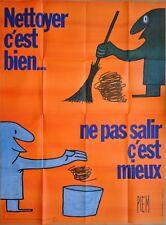 PIEM *  Propreté de Paris * 1977 * Affiche 120 x 160 cm Originale