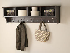 Entrance Cubby Long Mounted Wall Shelf Storage Foyer Hallway Coat Hooks Wood