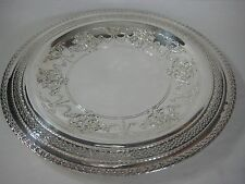 OLD INTERNATIONAL SILVER COMPANY I S 167 LACE DESIGN EDGES SERVING PLATTER TRAY