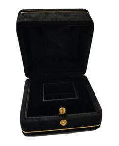 Black satin ribbed gold trim frame inset ring box fast free postage