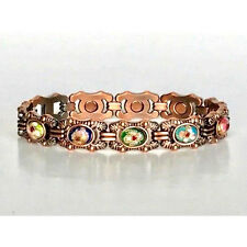 7 IN COPPER MAGNETIC BRACELET WITH COLORED FLOWER IN EVERY LINK NEW 5402