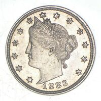 Choice AU+ 1883 NO CENT - Liberty V Nickel - Victory - First Year Issue