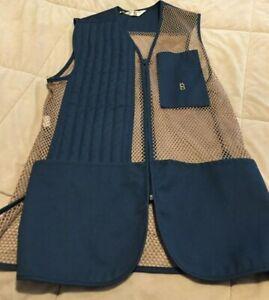 Vintage BOB ALLEN Skeet Trap Shooting Hunters Vest Size M Navy & Tan Mesh