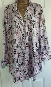 Women's VICTORIA'S  SECRET lilac long sleeved silky night shirt top pj UK L 16