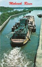 Postcard New York Tugboat Eastbound on Mohawk River Lock 7 Erie Canal c1960s