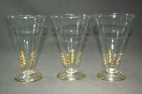 Abigails 3PC Clear to Gold Ophelia Stem Water Glasses NIB