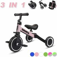 3 in 1 Kids Trike Tricycle Baby Balance Bike Toddlers w/ Removable Pedals Pink