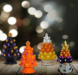 "7.5"" Light Up Ceramic Retro Halloween Gnome Candy Corn Tree Collection 71209 BO"