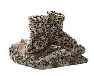 Faux Fur Throw and Booties Large Leopard Fits 9-10 Womens Concierge Collection