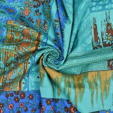 """Cotton Material 43"""" Wide Blue Indian Fabric Crafting Supplies By The Yard"""