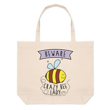 Beware Crazy Bee Lady Large Beach Tote Bag - Funny Animal Cute Bumble Shoulder