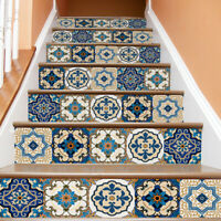 6Pcs 3D Stair Risers Decals Wall Tile Stickers Mural Wallpaper Vinyl DIY Decor