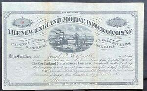 NEW ENGLAND MOTIVE POWER COMPANY Stock 1884. Boston, Mass. Coal Power Plant. VF+