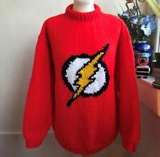 Hand Knitted Striking Pillar Box Red Flash Superhero jumper by Bexknitwear
