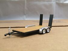 dcp/greenlight black tandem axle car trailer w/working ramps 1/64...