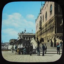 Glass Magic Lantern Slide PONTE DELLA PAGLIA BRIDGE VENICE C1890 PHOTO ITALY