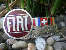 FIAT CLUB GRENZECK GERMANY enamel Car Badge - excellent condition!