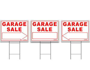 """Large Garage Sale Signs 3-Pack Kit 24""""x18"""" -  Double Sided + FREE Stakes"""