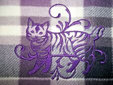 American Bobtail Cat Embroidered Throw Blanket Design, Purple Plaid