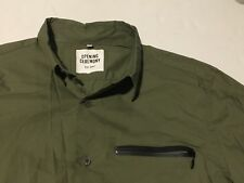 Opening Ceremony LEATHER POCKET ZIPPER ARMY GREEN  Shirt Size LARGE