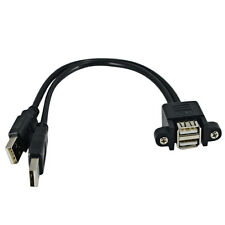 Dual USB 2.0 A Female Socket Panel Mount to 2 USB A Male Extension Cable 25CM
