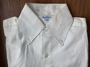 VTG Mens Dress Shirt Mark Twain Elder White Cotton Sanforized NOS XS/SM 30s 40s